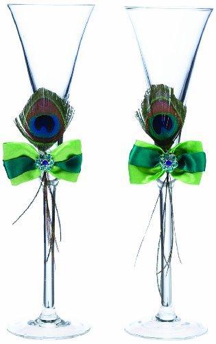 Свадьба - Lillian Rose Peacock Feather Toasting Glass Set, 10.5-Inch