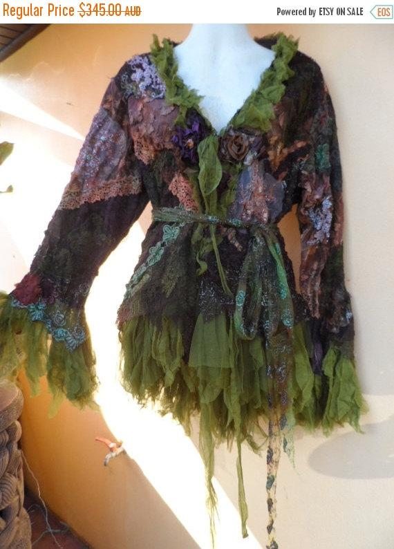 "Mariage - 20% OFF vintage inspired extra shabby jacket in woodland pixie hues ... medium to 42"" bust"