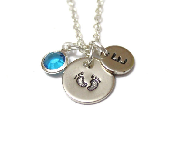 Wedding - New mom gift, New mom necklace,Baby Feet Charm Birthstone Mother Necklace Personalized Kids Name Necklace Celebrity Moms Children Birthstone