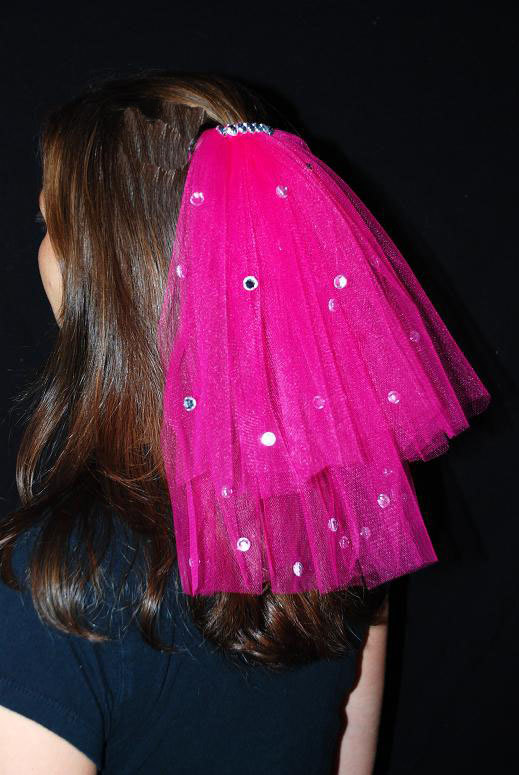 Mariage - Hot Pink Wedding Or Bachelorette Party 2-Tier Veil Clip With Rhinestones