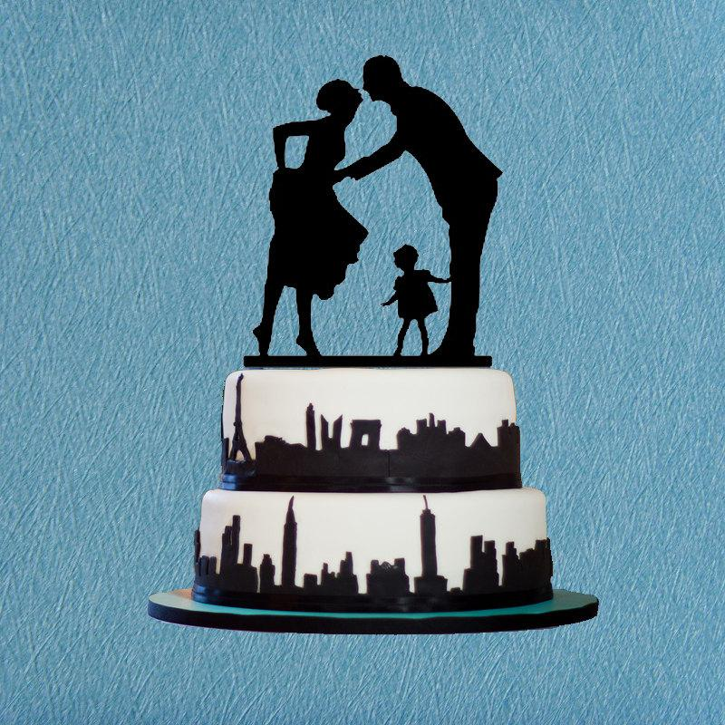 Bride And Groom Kiss Cake Topper Acrylic Wedding Silhouetter With Child Rustic