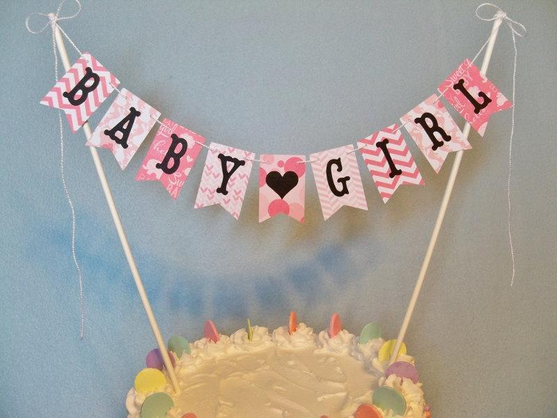 Baby Shower Cake Topper Banner Baby Girl Cake Bunting Gender