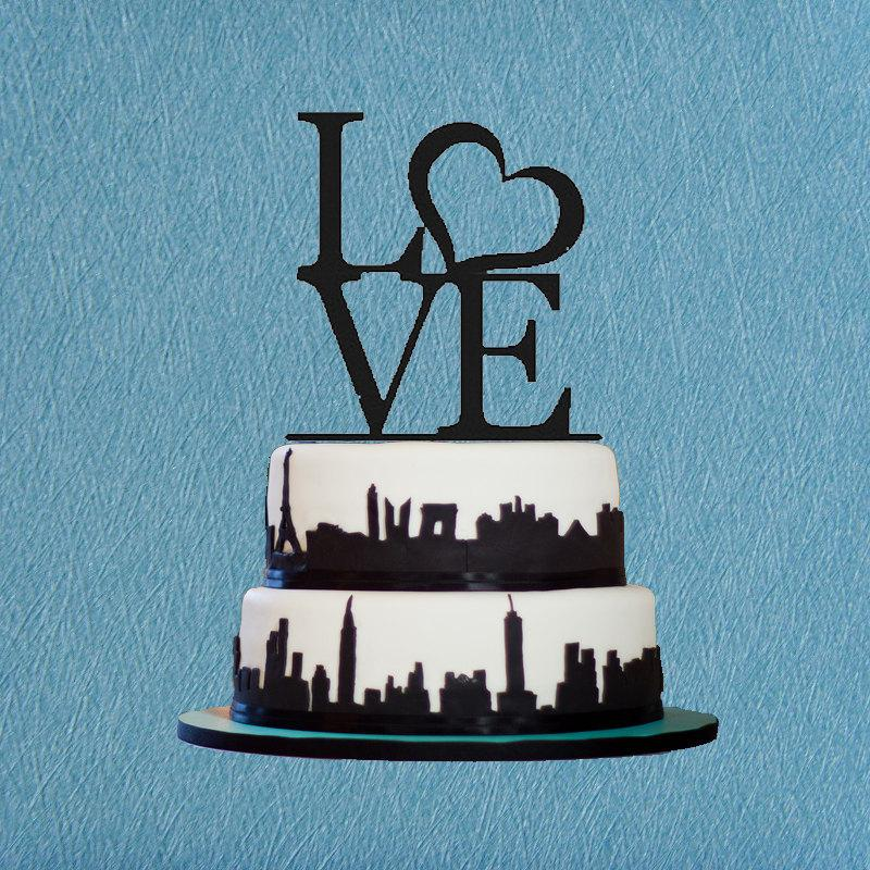 Свадьба - Love Wedding Cake Topper,Custom Heart Love Cake Topper,Romantic Wedding Cake Topper,Modern Cake Topper,Unique Wedding Cake Topper