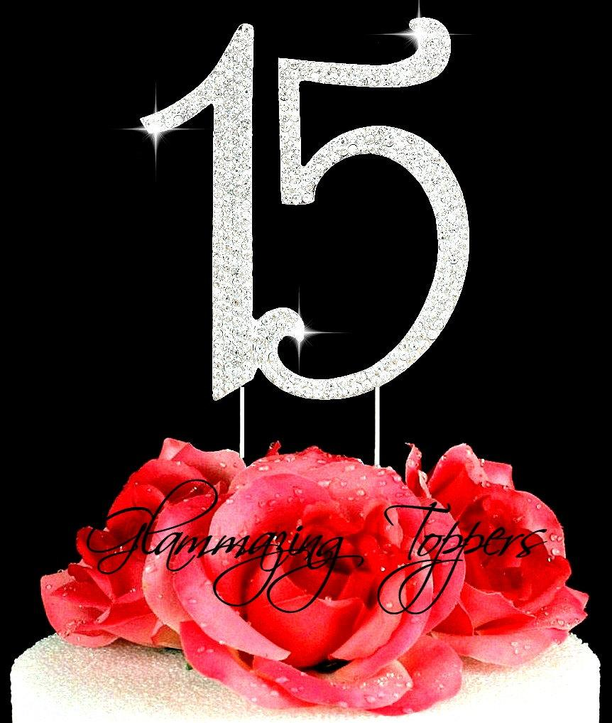 Свадьба - Custom 15  Quinceañera Rhinestone cake topper decoration numbers cake topper Birthday cake topper bling