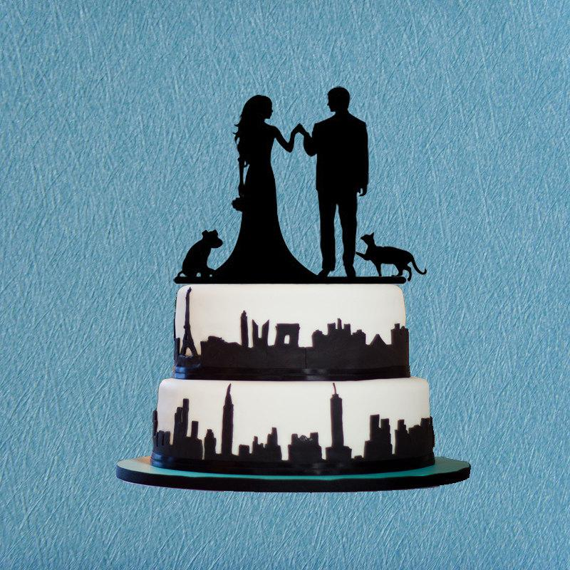Mariage - Bride and groom cake topper,cake topper with dog/cat,engagement cake topper,rustic wedding cake topper,unqiue wedding toppers with dog/cat