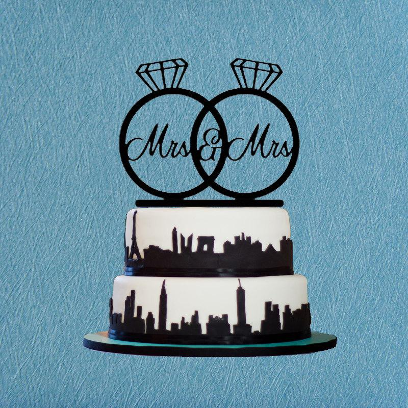زفاف - Same Sex Cake Topper Wedding,Custom Mrs & Mrs Cake Topper,Lesbian Cake Topper,Wedding Ring Cake Topper,Rustic Cake Topper,Modern Cake Topper