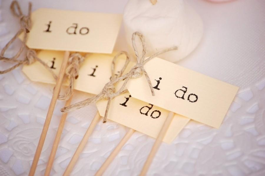 Hochzeit - I Do Party Picks - cream with twine bows - set of 10