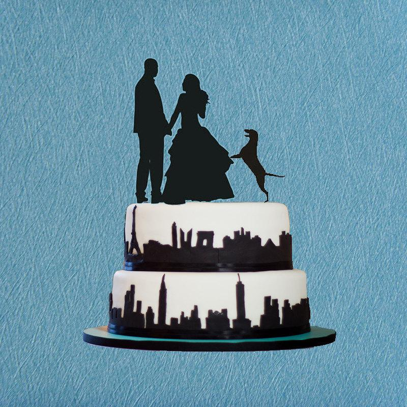 Свадьба - Wedding Cake Topper Silhouette ,Wedding Cake Topper With Dog ,Bride and Groom Dancing Wedding Cake Topper,Acrylic Silhouette Cake Topper