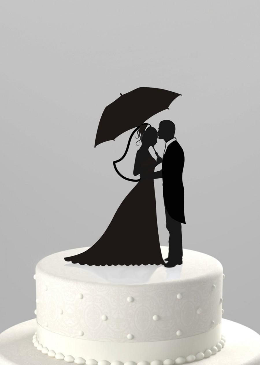 Hochzeit - Wedding Cake Topper Silhouette - Groom with Bride holding Umbrella, Acrylic Cake Topper [CT37]
