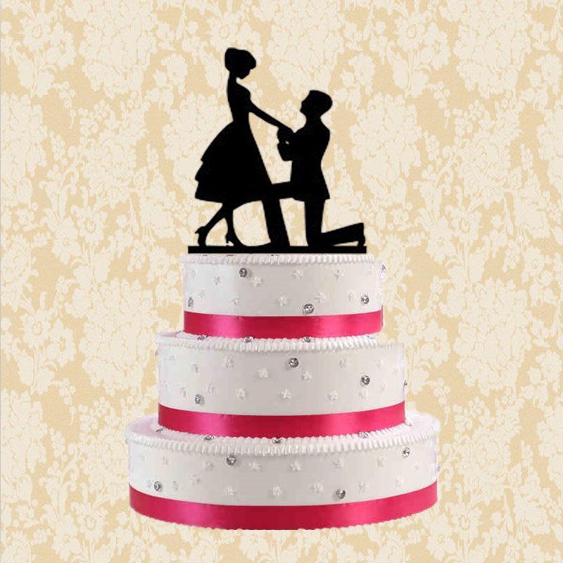 Hochzeit - Silhouette cake topper, wedding cake topper, proposal cake topper, romantic cake topper