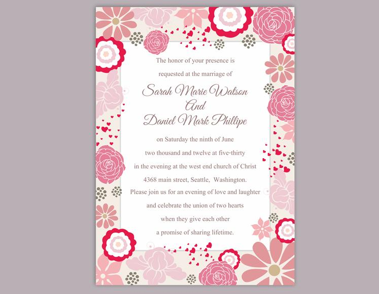 DIY Wedding Invitation Template Editable Word File Instant Download Pink Coral Floral Printable