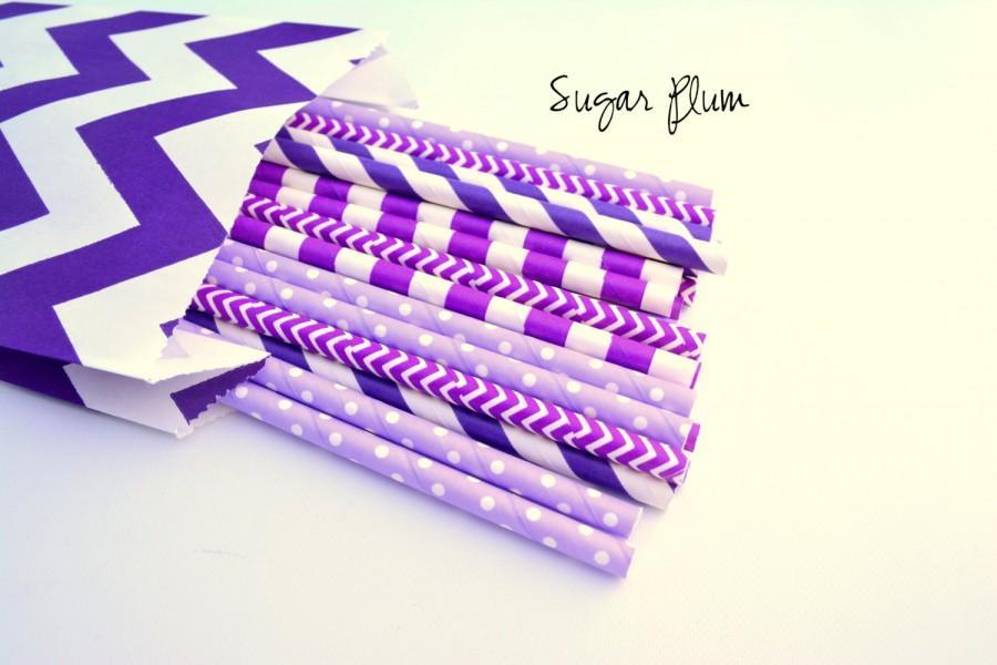 Свадьба - Sugar Plum Purple, Purple Straws *Purple Party *Princess party  *Purple straws - Paper Straws *Purple Wedding Decorations *Purple Bridal