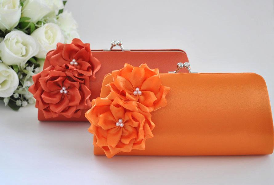 Свадьба - Orange / Burnt Orange - Bridesmaid Clutch / Bridal clutch - Choose the color you like