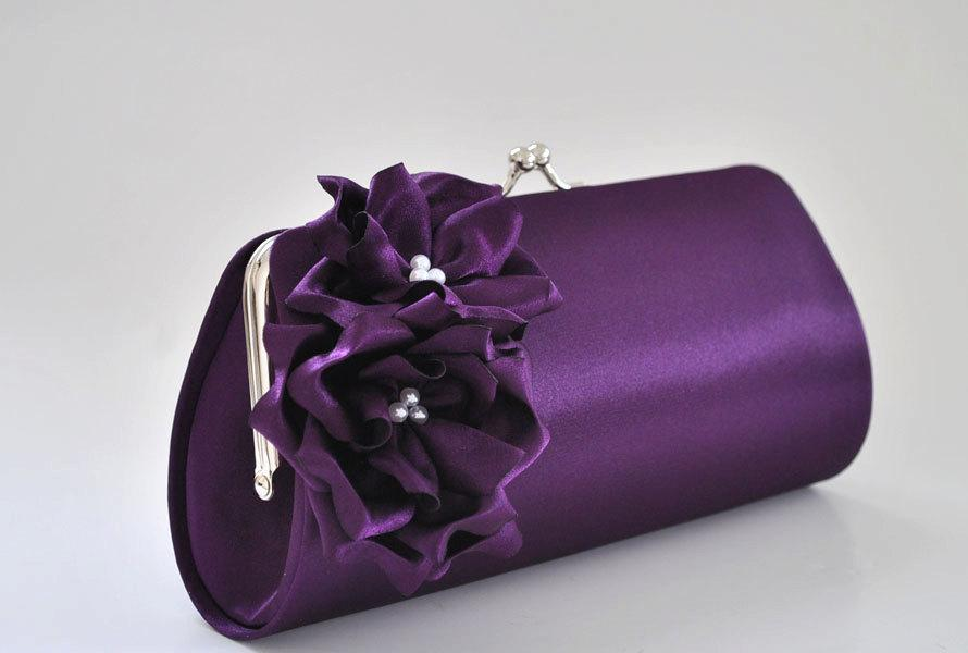 Свадьба - Deep Purple Clutch - Bridesmaid Clutch / Bridal clutch / Prom Clutch