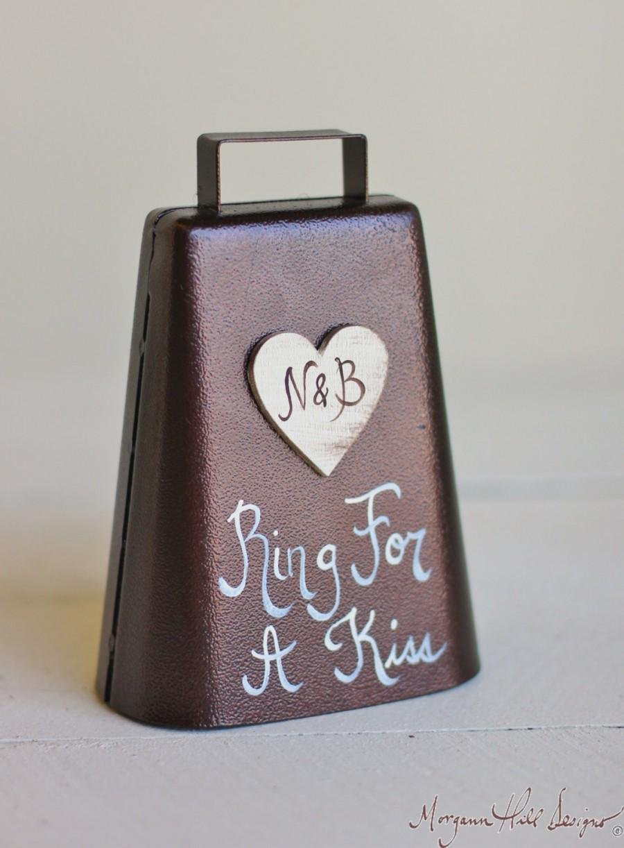 Свадьба - Ring For A Kiss Wedding Bell Personalized Rustic Chic Decor (Item Number MMHDSR10038)