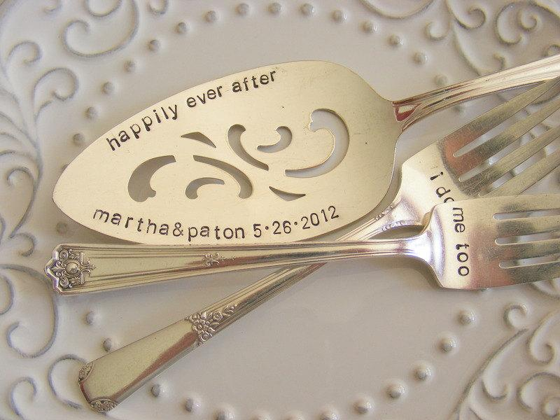 Mariage - Cottage Chic Wedding Cake Server and Forks Set