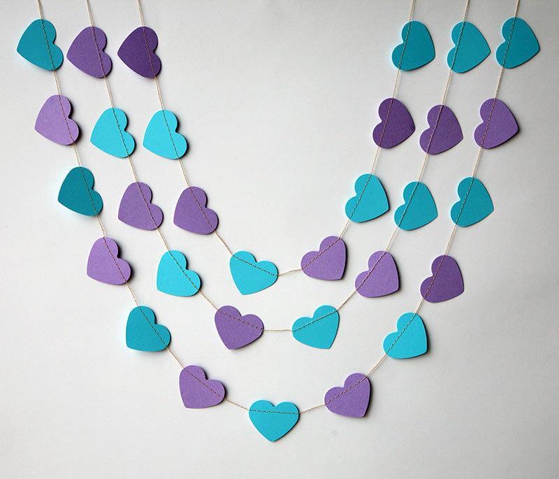 Mariage - Heart garland, Wedding garland, Wedding decoration, Purple turquoise heart garland, Peacock wedding,, Paper garland, Bridal shower decor