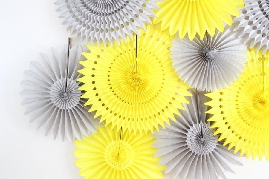 Tissue paper flower fan wedding decoration yellow and gray tissue paper flower fan wedding decoration yellow and gray junglespirit
