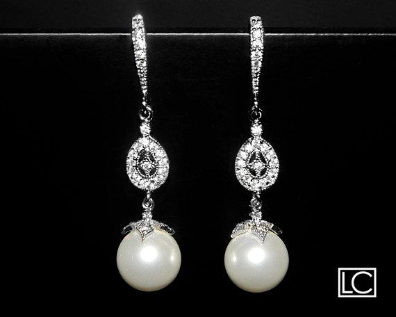 White Drop Pearl Earrings Swarovski 10mm Dangle Sterling Silver Cz Bridal Earring Wedding Jewelry