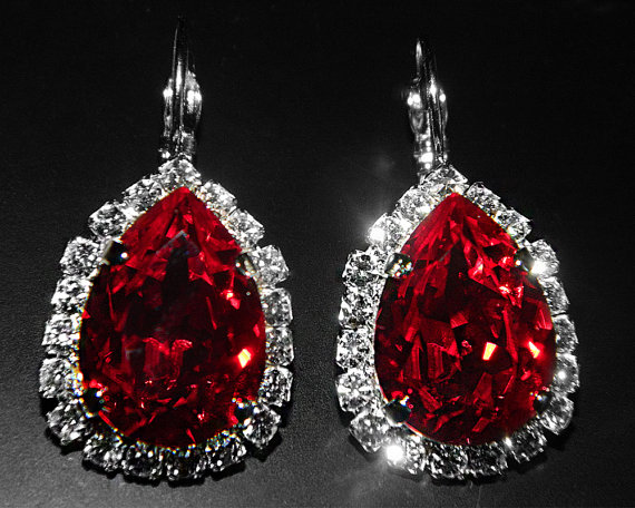 swarovski designer long nyc rare in drop on earrings jewelry karen gf curtis vintage red crystal by