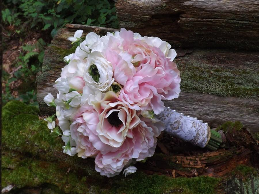 Charmant Bridal Bouquet With Light Pink Or White Anemones, Sweet Pea, Peonies And  Ranunculus