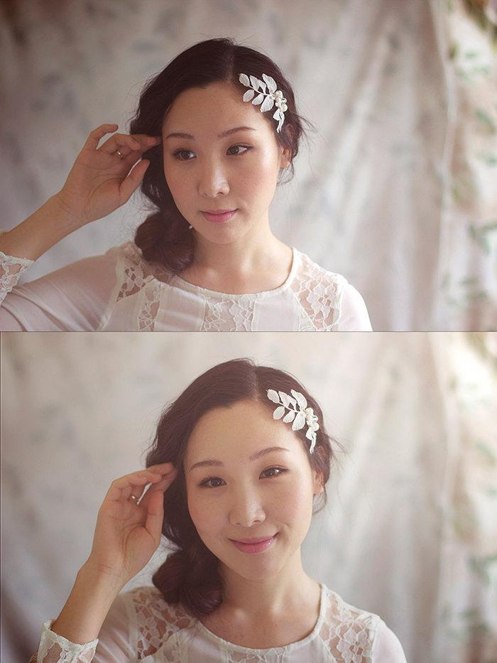 Wedding - Ivory Wedding Headpiece - Bridal Hair Accessories - Pearl Headpiece - Hair Vine - Style HP1317