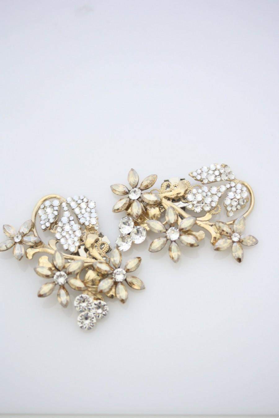 Mariage - Gold Wedding Shoe Clips Crystal Shoe Clips Rhinestone Shoe clips Crystal Flower Shoe Clip Golden Shadow Leaf shoe clips AUBURY