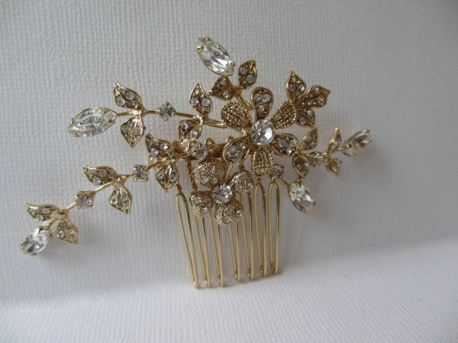Mariage - Gold or Silver Bridal Comb, BRIDAL Brooch Conversion, Hair Comb, Branch Hair Comb, Rhinestone Crystal, 14k Gold Plated, Hair Accessories