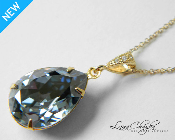 Свадьба - Blue Shade Crystal Necklace Blue Rhinestone Gold Necklace Swarovski Blue Shade Crystal Pendant Wedding Jewelry Bridal Jewelry Blue Necklace