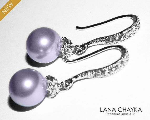 Wedding - Lavender Pearl Drop Earrings Light Violet Pearl Small Earrings Swarovski 8mm Pearl Sterling Silver CZ Wedding Earrings Lavender Jewelry