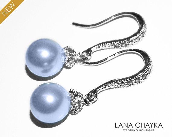 Düğün - Light Blue Pearl Earrings Blue Pearl Drop Sterling Silver CZ Earrings Swarovski 8mm Pearl Small Earrings Wedding Light Blue Pearls Earrings