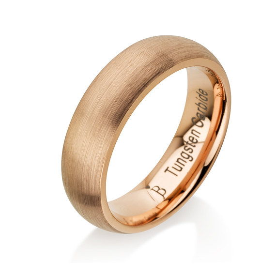 Hochzeit - Rose Gold Tungsten Ring - Classic Dome Style Solid Mens Wedding Band - 6mm Brushed Polish - Satin Finish - Comfort Fit - Braverman