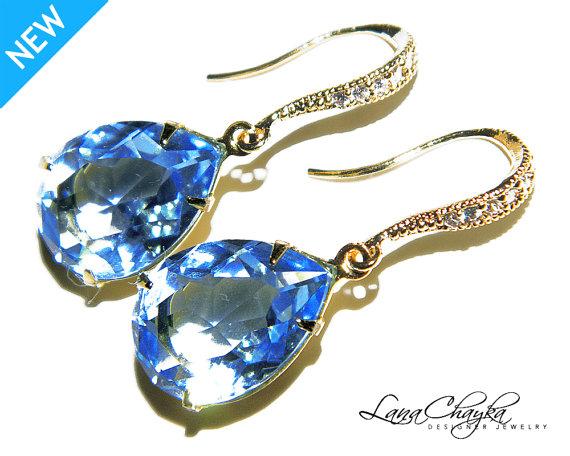 Свадьба - Aquamarine Vermeil Gold Crystal Earrings Light Blue Rhinestone Earrings Swarovski Aquamarine Blue Gold CZ Rhinestone Earring Wedding Jewelry