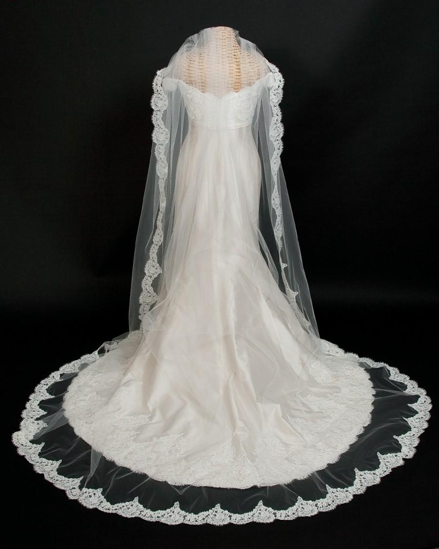 Свадьба - Cathedral Length Bridal Veil embellished with French Alencon Lace