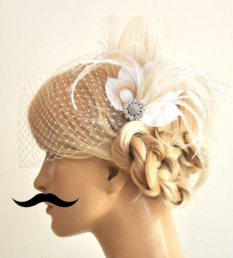 Hochzeit - Birdcage Veil ,peacock Feathers Fascinator,(2 ITEMS), bridal Feathers Fascinator, wedding Accessories,bridal head piece,Hair Accessories