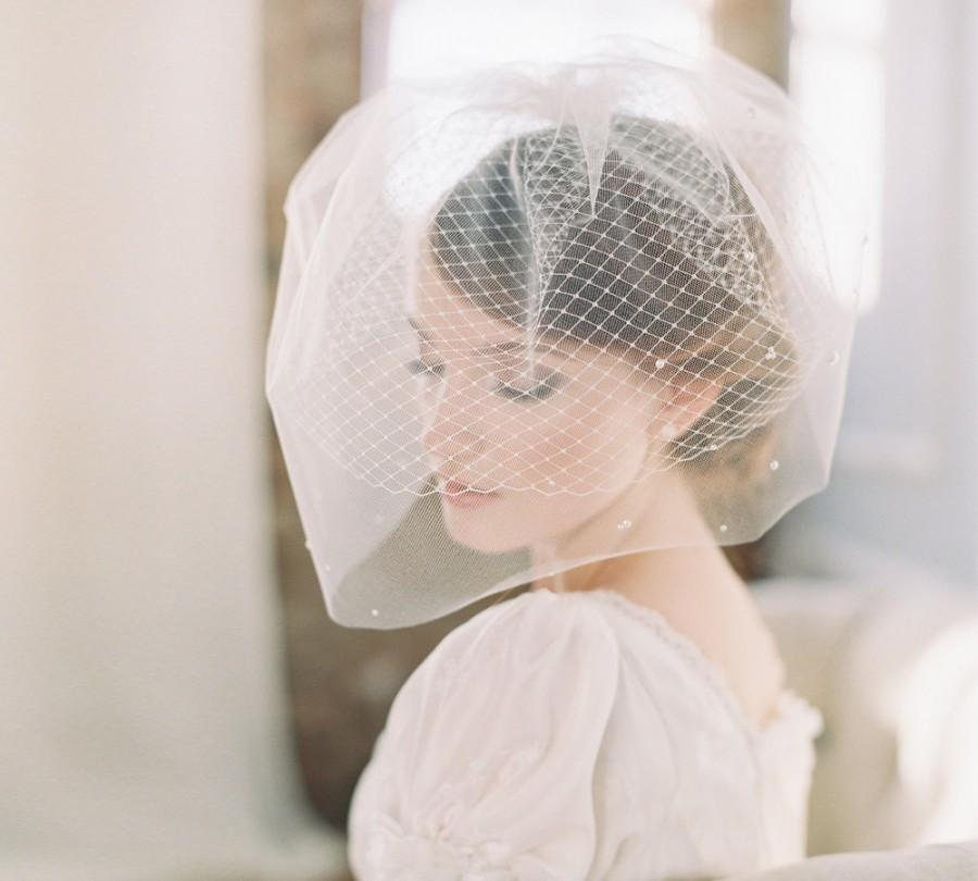 Свадьба - Bridal double birdcage blusher veil scattered pearls - Style Milky Way no. 1982