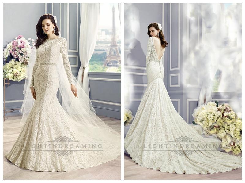 Wedding - Long Sleeves Bateau Neckline Lace Embellished Mermaid Wedding Dress with Deep V-back