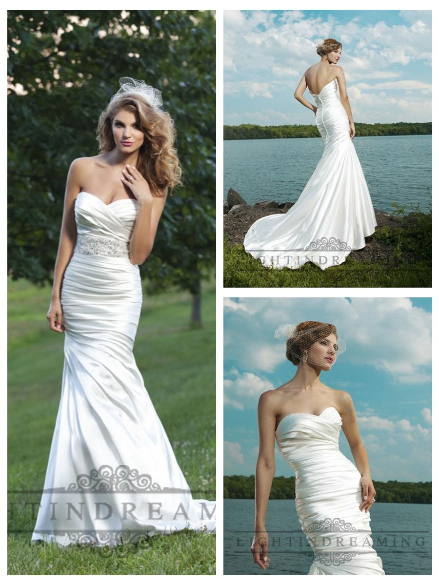 Wedding - Strapless Ruched Sweetheart Wedding Dresses with Pleated Skirt
