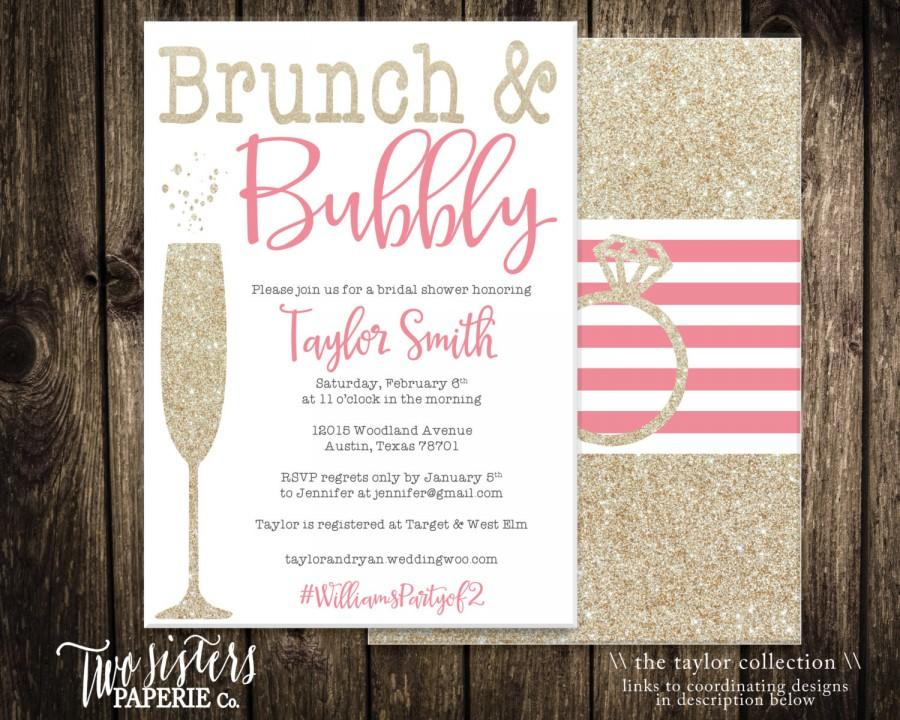 Brunch And Bubbly Bridal Shower Invitation Printable