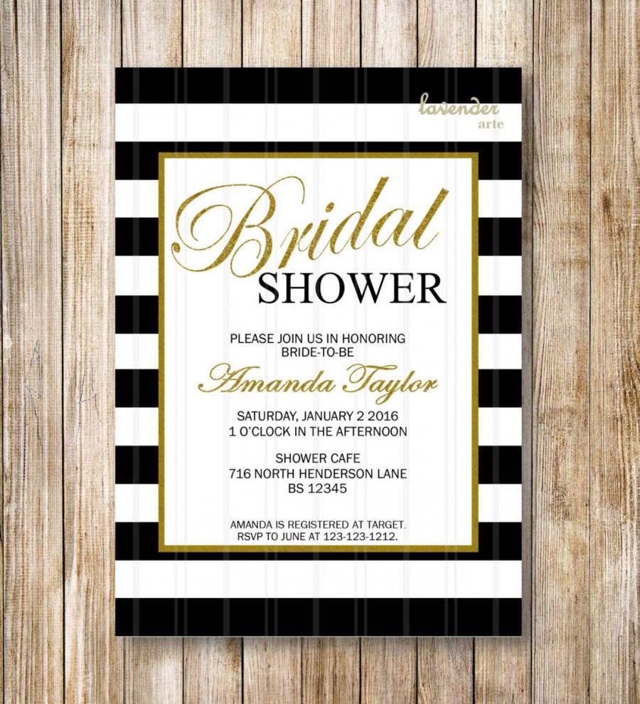 Black And White Stripes Bridal Shower Invitation, Coco Chanel ...