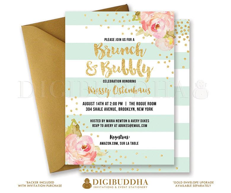brunch bubbly invitation bridal shower invite pink peonies mint