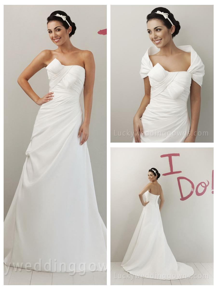 Wedding - Unusual A-line Ivory Taffeta Strapless Summer Wedding Dress with Asymmetrical Draped