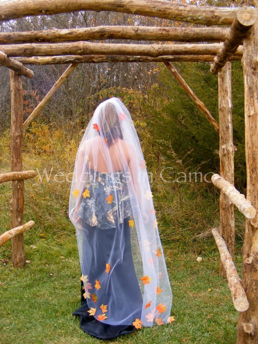 زفاف - FULL LENGTH Veil with LEAVES and crystals Country Rustic Wedding