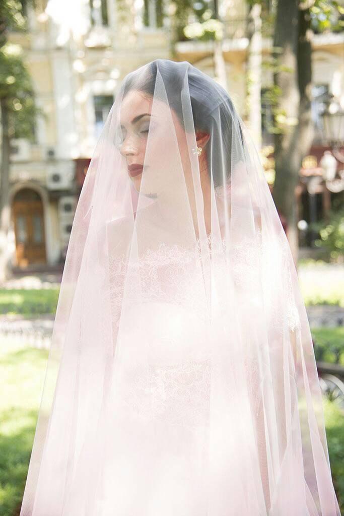 Hochzeit - pink wedding veil peach Angellure light pink drop veil, grey cathedral veil with blusher,Drop Wedding Veil, Simple Veil, Bridal Veil, Veils,