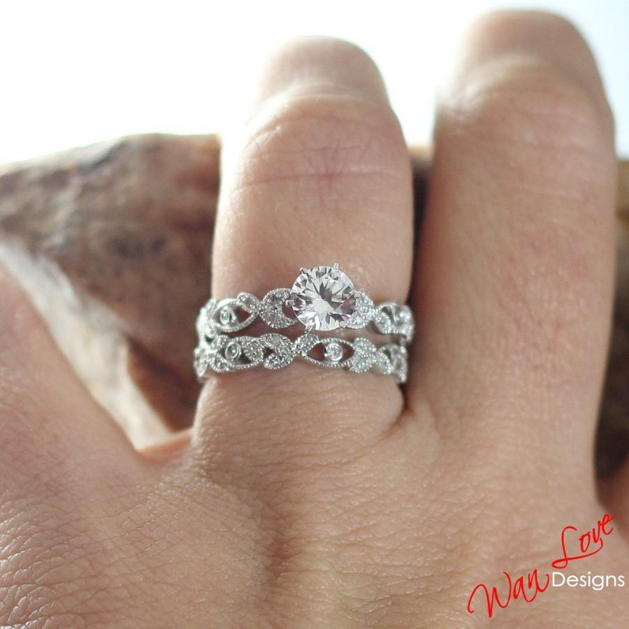 White Sapphire Diamond Engagement Ring Set Milgrain Leaf Eternity