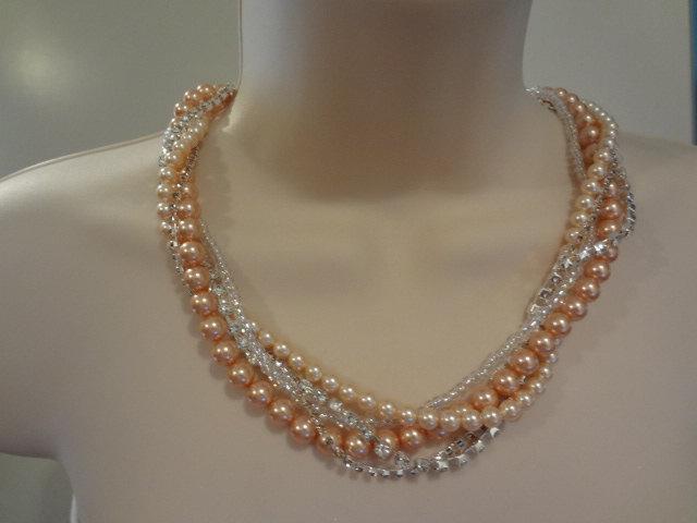 Hochzeit - Bridal Pearl Necklace Swarovski Pearl Necklace Chunky Necklace Crystal Necklace Antoniette collection