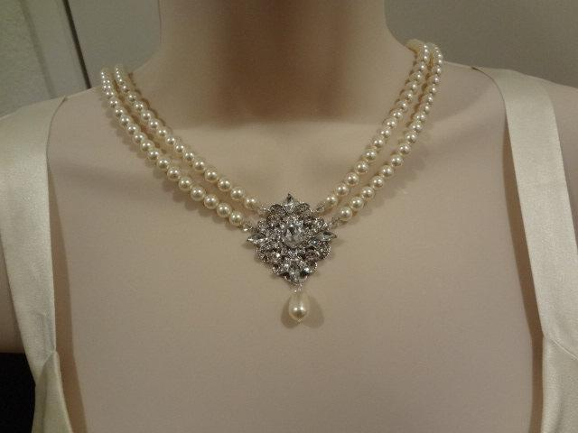 Свадьба - Bridal Pearl Necklace Bridal Gift Vintage Style Necklace Bridal jewelry Rhinestone Necklace Melissa
