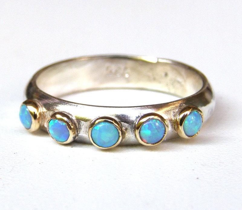 Свадьба - Blue Opal ring, Fine jewelry, Stacking ring ,gift for her, gift ideas,valentines day gift, MADE TO ORDER ,wedding band Handmade engagement