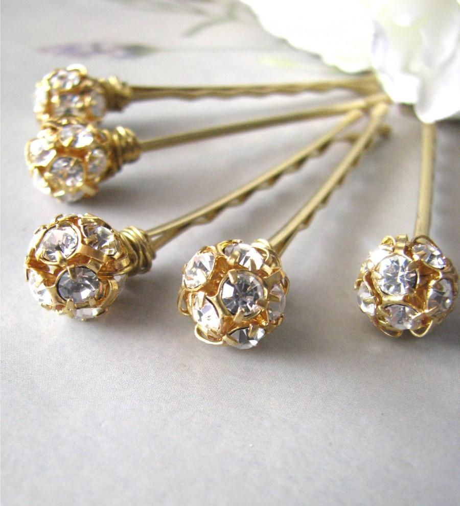 Свадьба - Rhinestone Hair Pins Set, Czech Crystal and Gold Glitz and Shimmer
