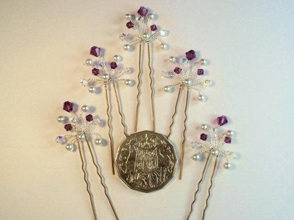زفاف - Amethyst Crystal Hair Pins, Swarovski Pearl Crystal Bridal Hair Pins, Amethyst Wedding Hair Accessories, Purple Crystal Bridesmaid Hair Pins